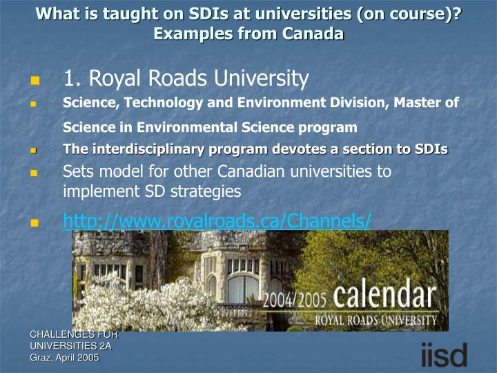 What is taught on SDIs at universities (on course)?