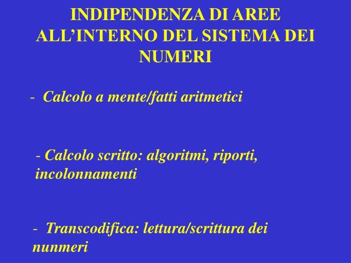 INDIPENDENZA DI AREE ALL'INTERNO DEL SISTEMA DEI NUMERI