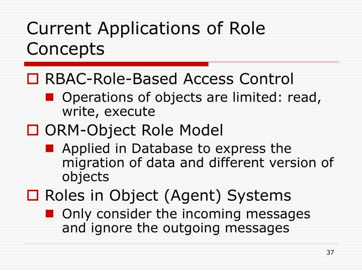 Current Applications of Role Concepts