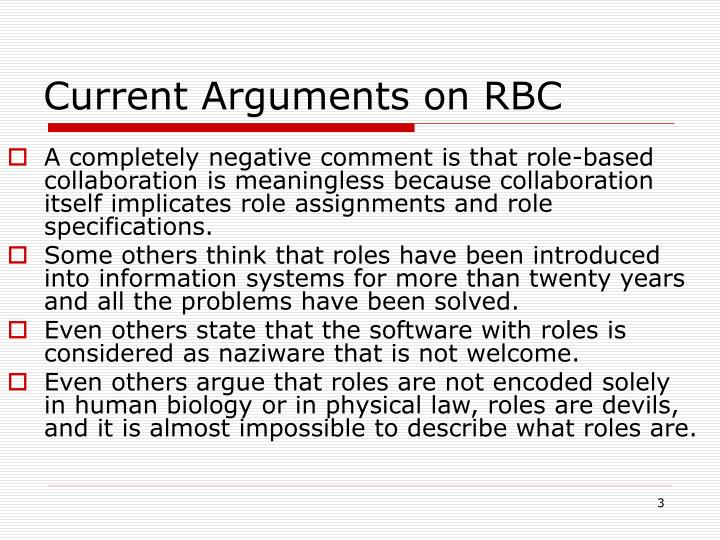 Current arguments on rbc