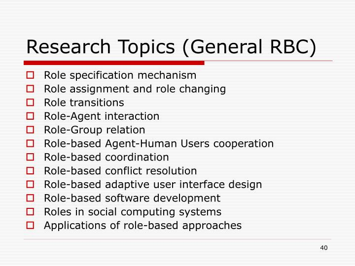Research Topics (General RBC)