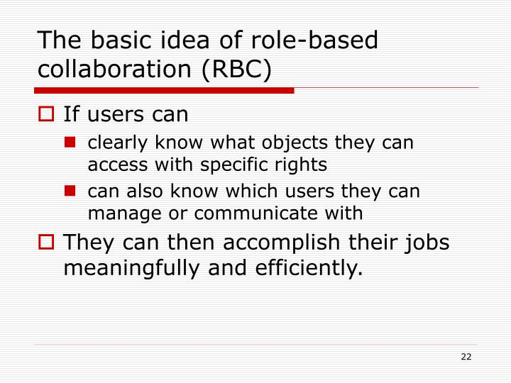 The basic idea of role-based collaboration (RBC)
