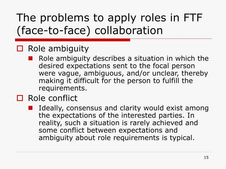 The problems to apply roles in FTF (face-to-face) collaboration
