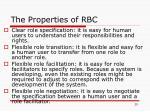 the properties of rbc