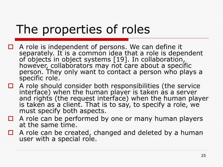The properties of roles