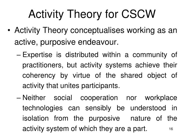 Activity Theory for CSCW