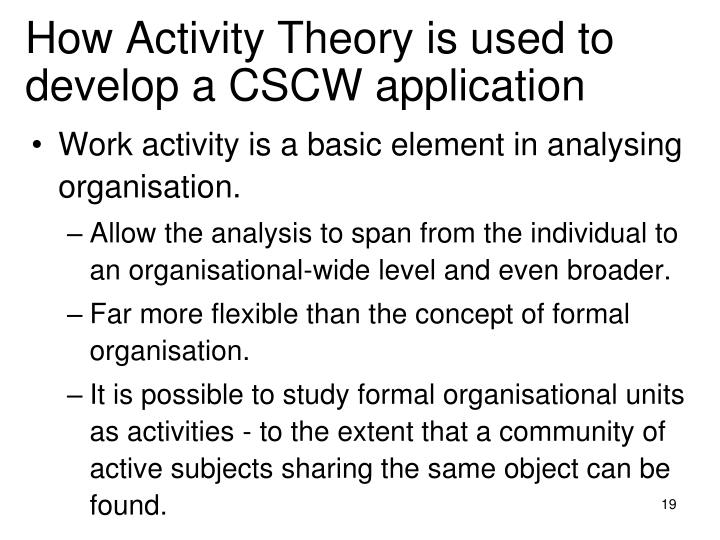 How Activity Theory is used to develop a CSCW application