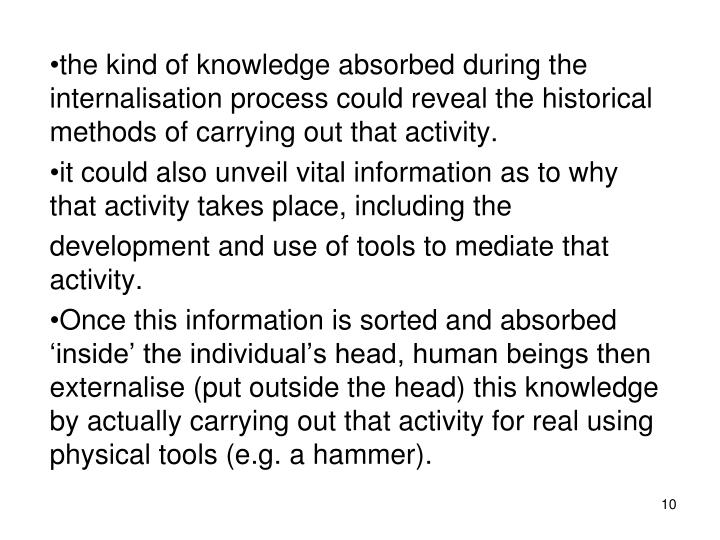 the kind of knowledge absorbed during the internalisation process could reveal the historical methods of carrying out that activity.