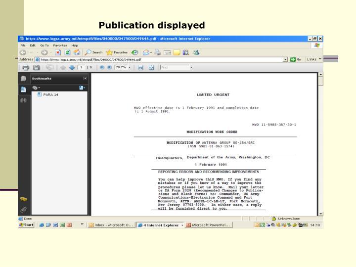 Publication displayed