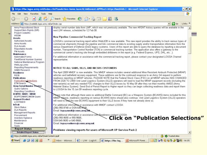 """Click on """"Publication Selections"""""""