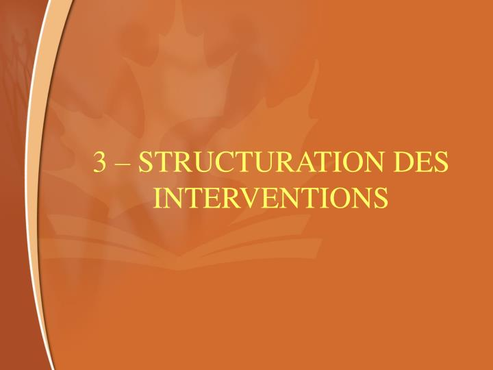 3 – STRUCTURATION DES INTERVENTIONS