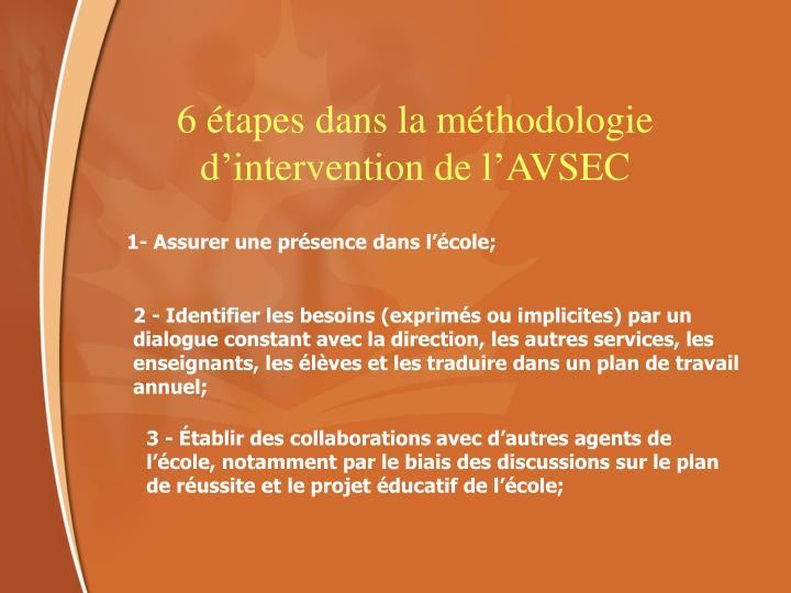 6 étapes dans la méthodologie d'intervention de l'AVSEC