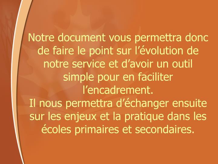 Notre document vous permettra donc de faire le point sur l'évolution de notre service et d'avoir un outil simple pour en faciliter l'encadrement.
