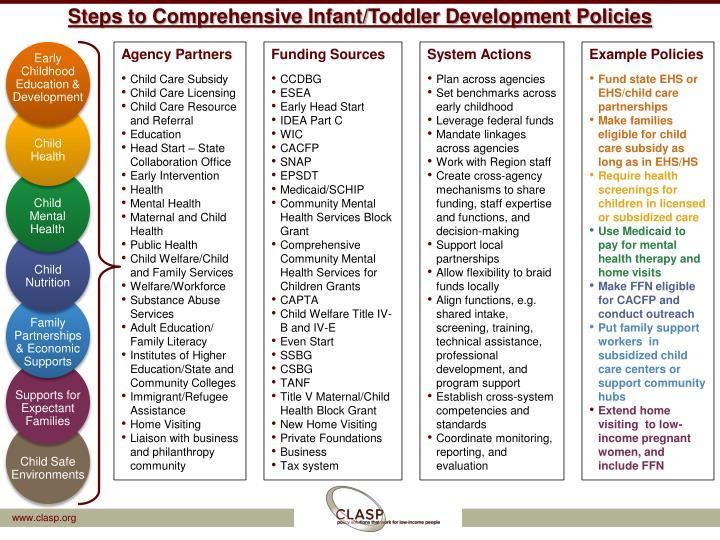 Steps to Comprehensive Infant/Toddler Development Policies