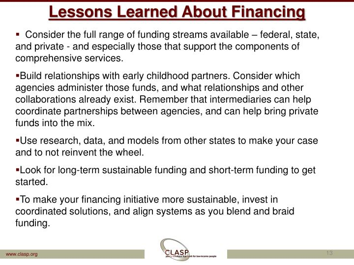 Lessons Learned About Financing