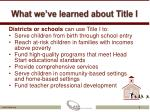 what we ve learned about title i