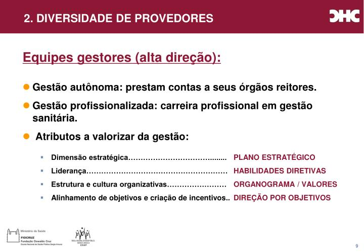 2. DIVERSIDADE DE PROVEDORES