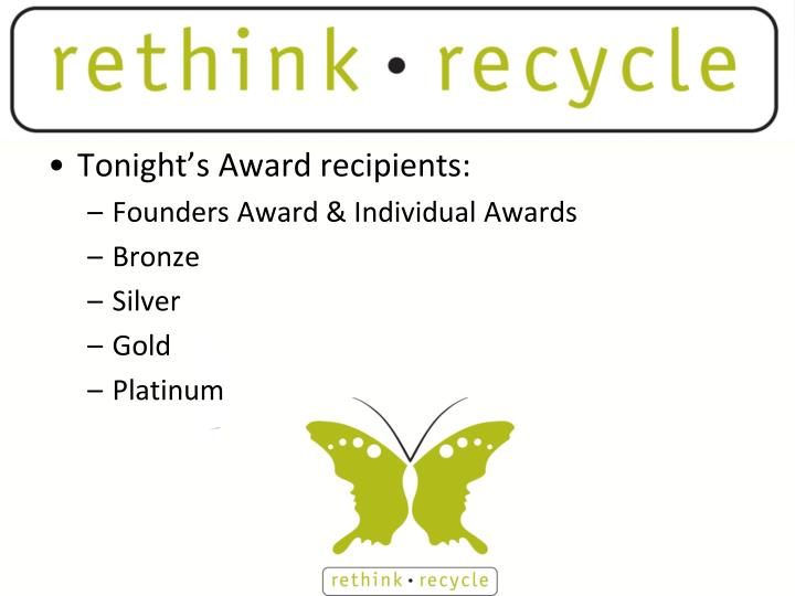 Tonight's Award recipients: