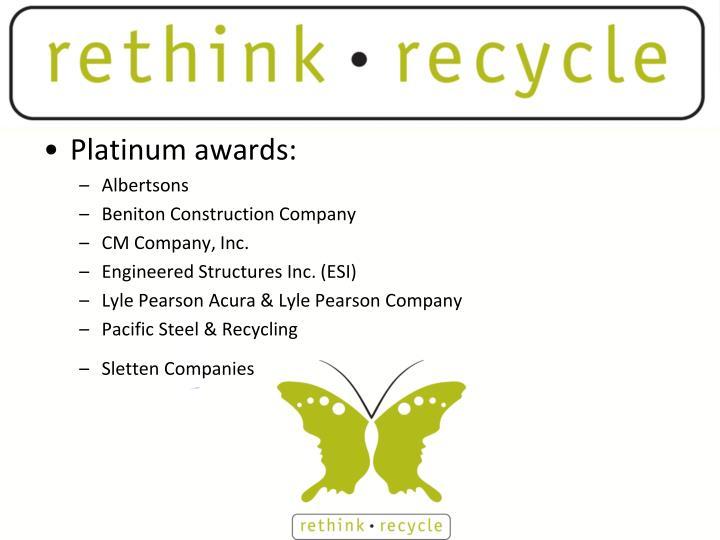 Platinum awards: