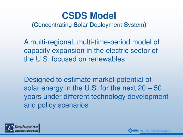 Csds model c oncentrating s olar d eployment s ystem