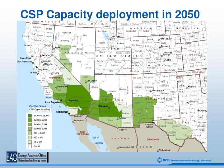 CSP Capacity deployment in 2050