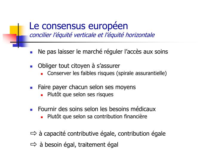 Le consensus européen