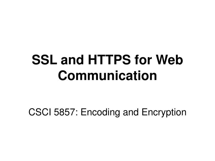 Ssl and https for web communication