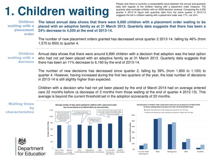 Please note there is currently a comparability issue between the annual and quarterly data with regards to the children waiting with a placement order measure. The quarterly data excludes children with an ADM decision reversal. Comparing the 4,550 quarter 4 2013-14 figure with quarterly data from the same quarter in 2012-13 suggests the fall in children waiting with a placement order was 17%, not 24%.