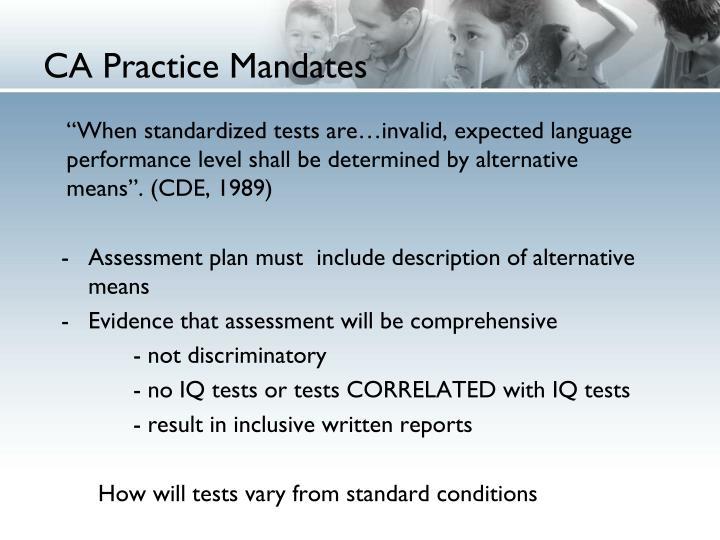 CA Practice Mandates