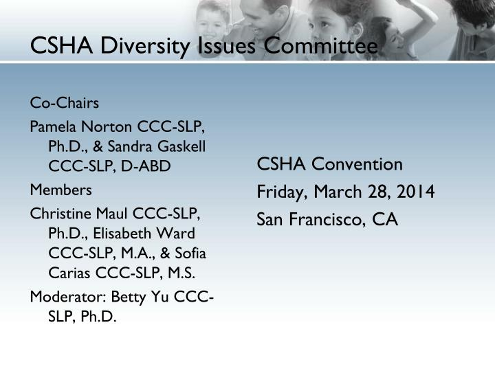 Csha diversity issues committee1