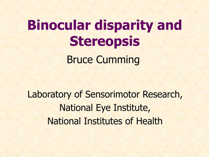 Binocular disparity and stereopsis