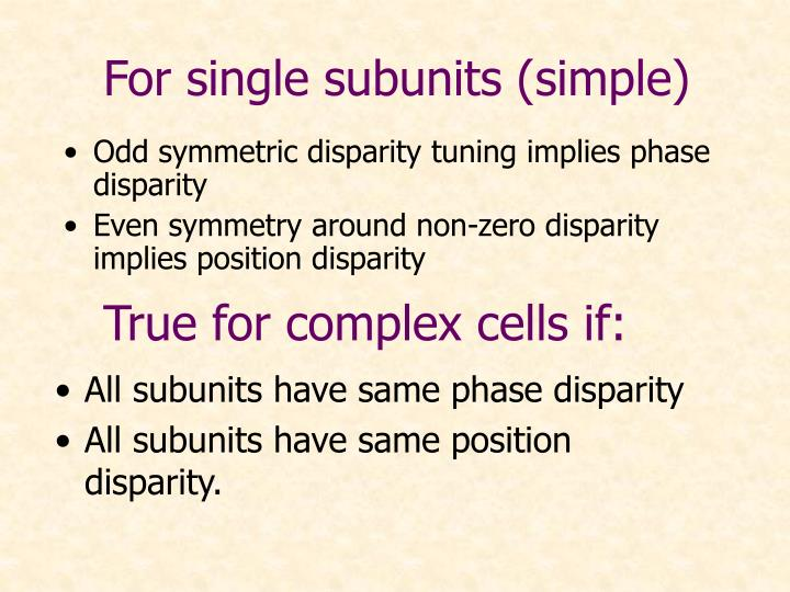 For single subunits (simple)
