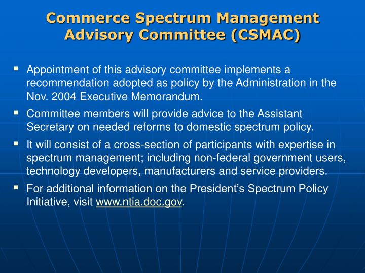Commerce Spectrum Management Advisory Committee (CSMAC)