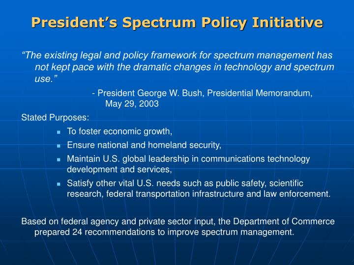 President s spectrum policy initiative
