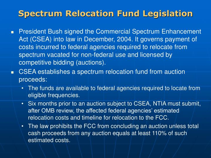 Spectrum Relocation Fund Legislation