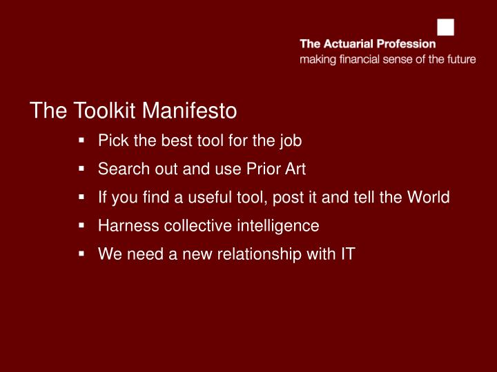 The Toolkit Manifesto