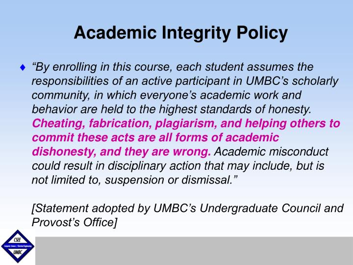Academic Integrity Policy