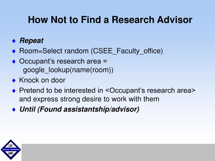 How Not to Find a Research Advisor