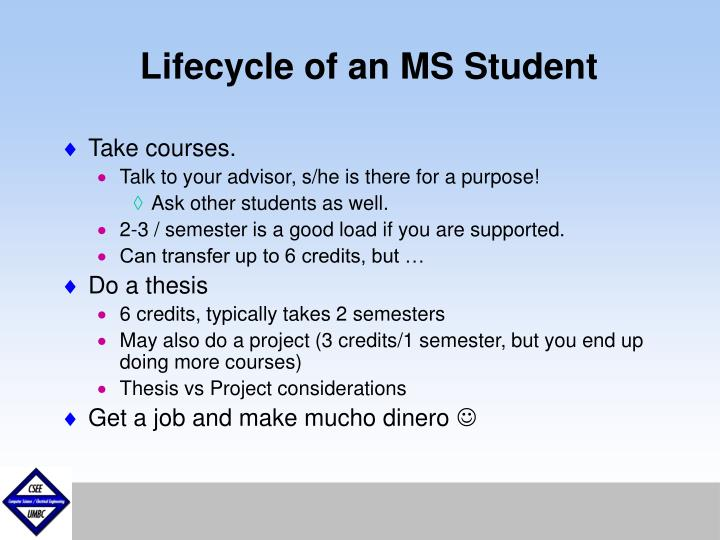Lifecycle of an MS Student