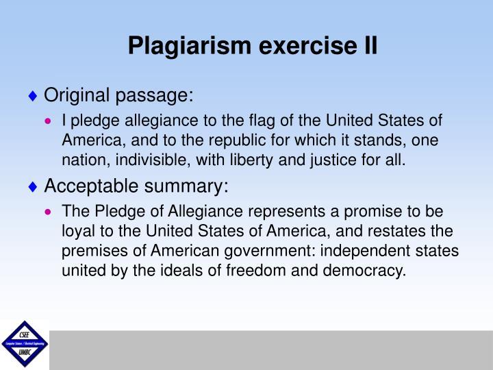 Plagiarism exercise II