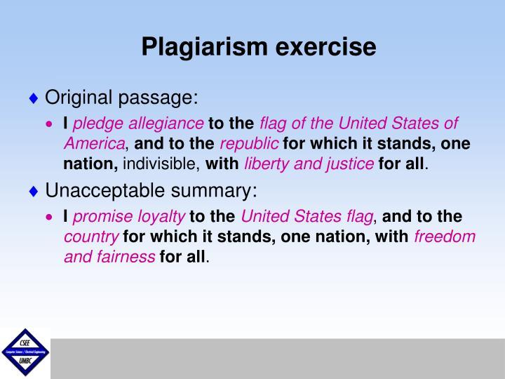 Plagiarism exercise