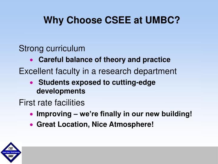 Why Choose CSEE at UMBC?