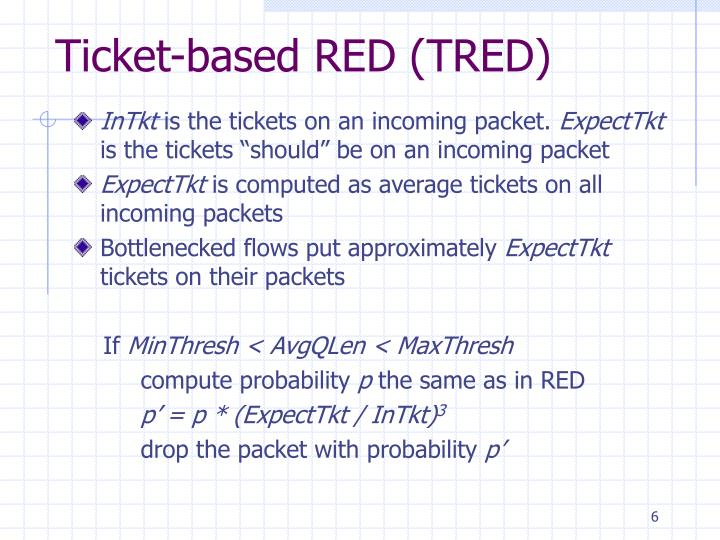 Ticket-based RED (TRED)