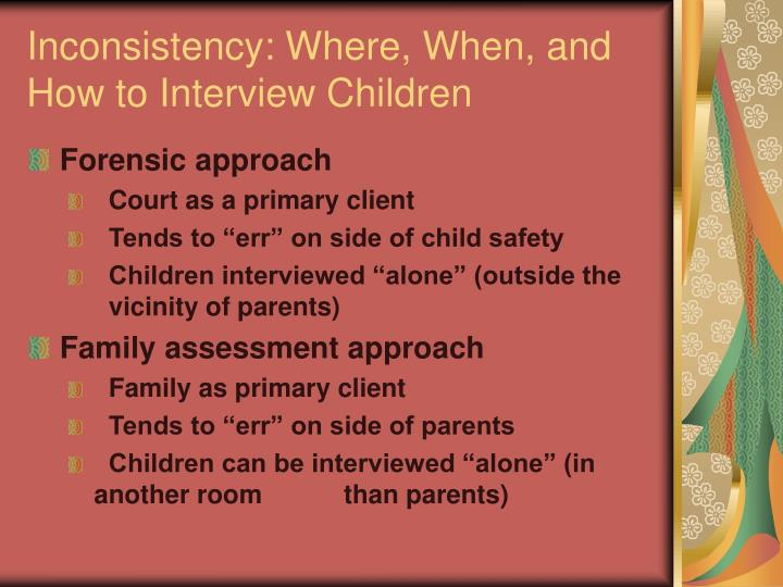 Inconsistency: Where, When, and How to Interview Children