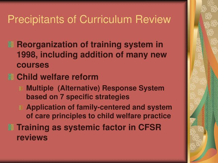 Precipitants of Curriculum Review