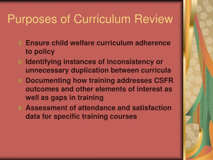 Purposes of Curriculum Review