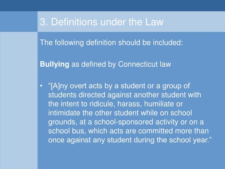 3. Definitions under the Law