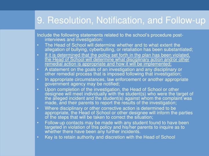 9. Resolution, Notification, and Follow-up