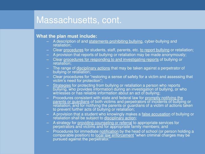 Massachusetts, cont.