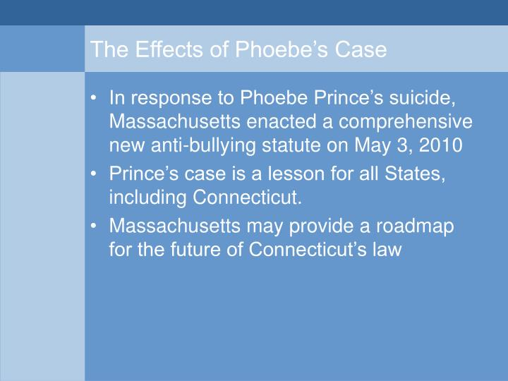 The Effects of Phoebe's Case